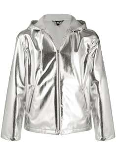 Black Comme Des Garçons короткая куртка с капюшоном и эффектом металлик