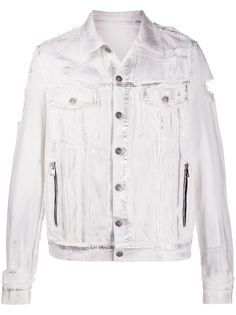 Balmain джинсовая куртка с прорезями и эффектом металлик