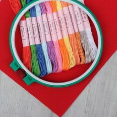 Набор для вышивания крестиком: канва без рисунка 30×20 см, мулине 12 шт, пяльцы d16 см Арт Узор