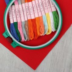 Набор для вышивания крестиком: канва без рисунка 30×20 см, мулине 13 шт, пяльцы d16 см Арт Узор