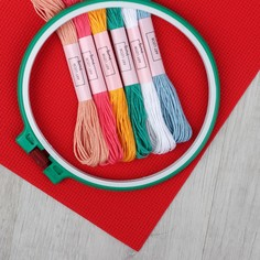 Набор для вышивания крестиком: канва без рисунка 30×20 см, мулине 6 шт, пяльцы d16 см Арт Узор