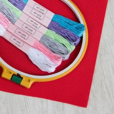 Набор для вышивания крестиком: канва без рисунка 20×30 см, мулине 6 шт, пяльцы d16 см Арт Узор