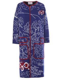 Пальто с принтом СТ017W0100PF Синий Бордовый Tak.Ori