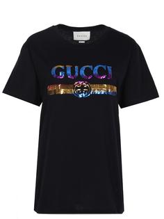 Футболка хлопковая с принтом 492347 XJARK 1082 Gucci