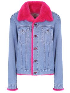 Джинсовая куртка с мехом MOD.R17/254TE017 Джинс Голубой норка розовый Rindi