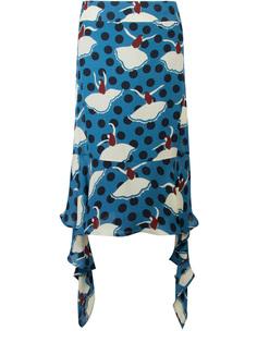 Шелковая юбка с воланами Marni