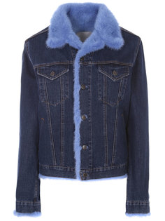Джинсовая куртка с мехом MOD.R17/ 254TE017 Джинс Голубой норка малиновая Rindi