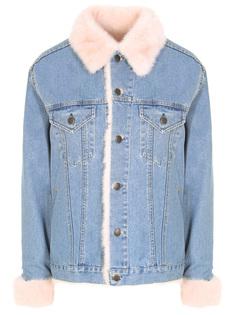 Джинсовая куртка с мехом норки MOD.R17 /254TE017 Джинс Голубой норка розовая Rindi