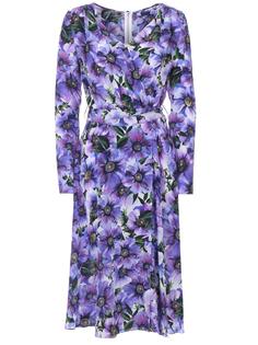 Шелковое платье-миди с цветами F6I0VT IS1A1 HA1AO Dolce & Gabbana