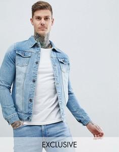 Классическая выбеленная джинсовая куртка Liquor N Poker-Синий