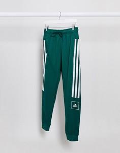 Зеленые джоггеры скинни с 3 полосками adidas Training-Зеленый