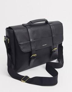 Черный портфель из искусственной кожи с логотипом ASOS DESIGN