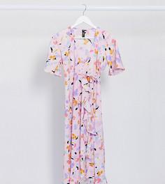 Платье миди с запахом и принтом Influence Maternity-Розовый