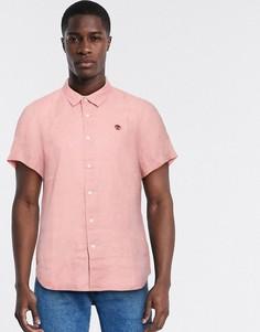 Льняная рубашка с короткими рукавами Timberland-Розовый