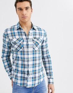 Рубашка в клетку с длинными рукавами Lee Jeans-Синий