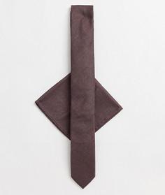Коричневый узкий фактурный галстук и платок для нагрудного кармана ASOS DESIGN