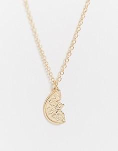 Золотистое ожерельес половиной монеты ASOS DESIGN-Золотой