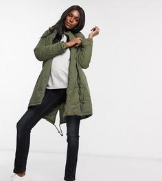 Пальто-парка 2 в 1 цвета хаки Mamalicious-Зеленый Mama.Licious