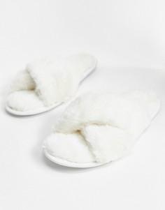 Слиперы кремового цвета с перекрещенными ремешками Loungeable-Кремовый