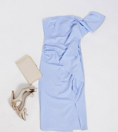 Голубое платье-бандо миди с оборкой True Violet Maternity-Синий