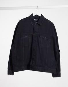 Черная выбеленная oversize-джинсовая куртка ASOS DESIGN-Черный