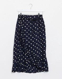 Темно-синяя юбка миди в горошек Object-Темно-синий
