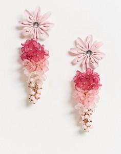 Розовые цветочные серьги-подвески с эффектом омбре ASOS DESIGN-Розовый