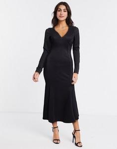 Черное облегающее платье миди с V-образным вырезом ASOS DESIGN-Черный