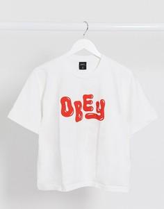 Кроп-топ с логотипом и графичным принтом на спине Obey-Белый