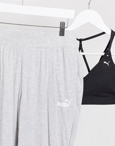 Серые драпированные брюки Puma ESS-Серый