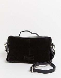 Чернаякожаная прямоугольная сумка Urbancode-Черный