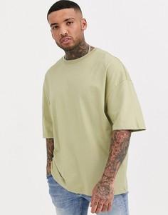 Светло-зеленая футболка в стиле oversized из органического хлопка Bershka Join Life-Зеленый