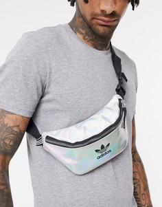 Переливающаяся сумка-кошелек на пояс с логотипом-трилистником adidas Originals-Серебряный