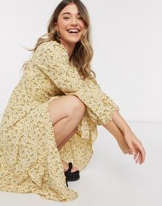 Платье миди с запахоми цветочным принтомMonki-Желтый