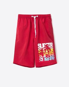 Бордовые пляжные шорты мужские Gloria Jeans