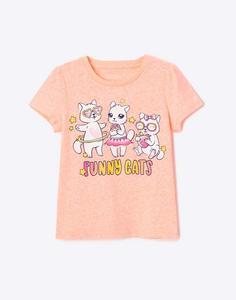 Белая футболка с надписью для девочки Gloria Jeans
