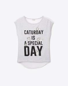 Серая футболка с котиками для девочки Gloria Jeans