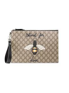 Gucci кошелек GG Supreme с принтом пчелы
