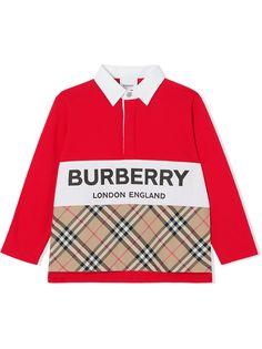 Burberry Kids клетчатая рубашка поло с длинными рукавами