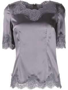 Dolce & Gabbana блузка с короткими рукавами и кружевом