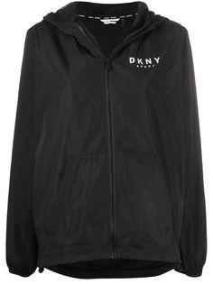 DKNY куртка на молнии с капюшоном и логотипом