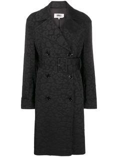 MM6 Maison Margiela жаккардовое пальто с леопардовым принтом