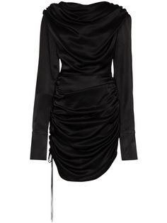 Matériel драпированное платье мини с длинными рукавами