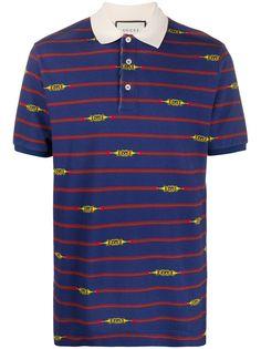 Gucci рубашка поло в полоску с принтом Horsebit