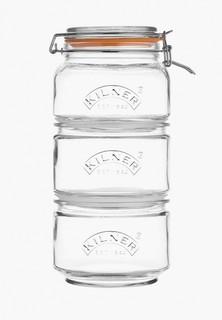 Набор контейнеров для хранения продуктов Kilner Clip Top 17.5 x 17.5 x 32 см