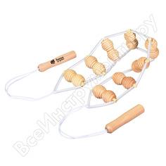 Деревянный ленточный массажер для спины банные штучки 110х7х3 см 40071