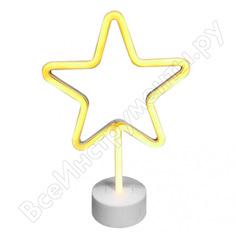 Светодиодный настольный неоновый светильник apeyron звезда, цвет свечения желтый 12-68