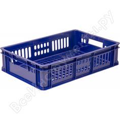Хлебный ящик п/э 600х400х150 с перфорацией синий тара 15657