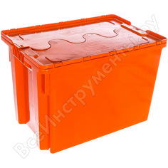 Ящик с крышкой п/э 600х400х400 сплошной, оранжевый тара 18656