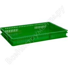 Ящик п/э 600х400х75 стенки перфорированные, дно сплошное, зеленый тара 05544